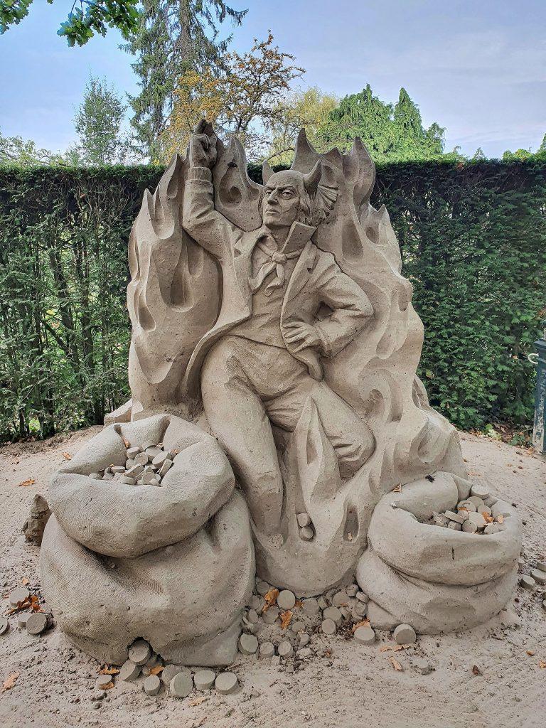 Sand sculpture of a devil